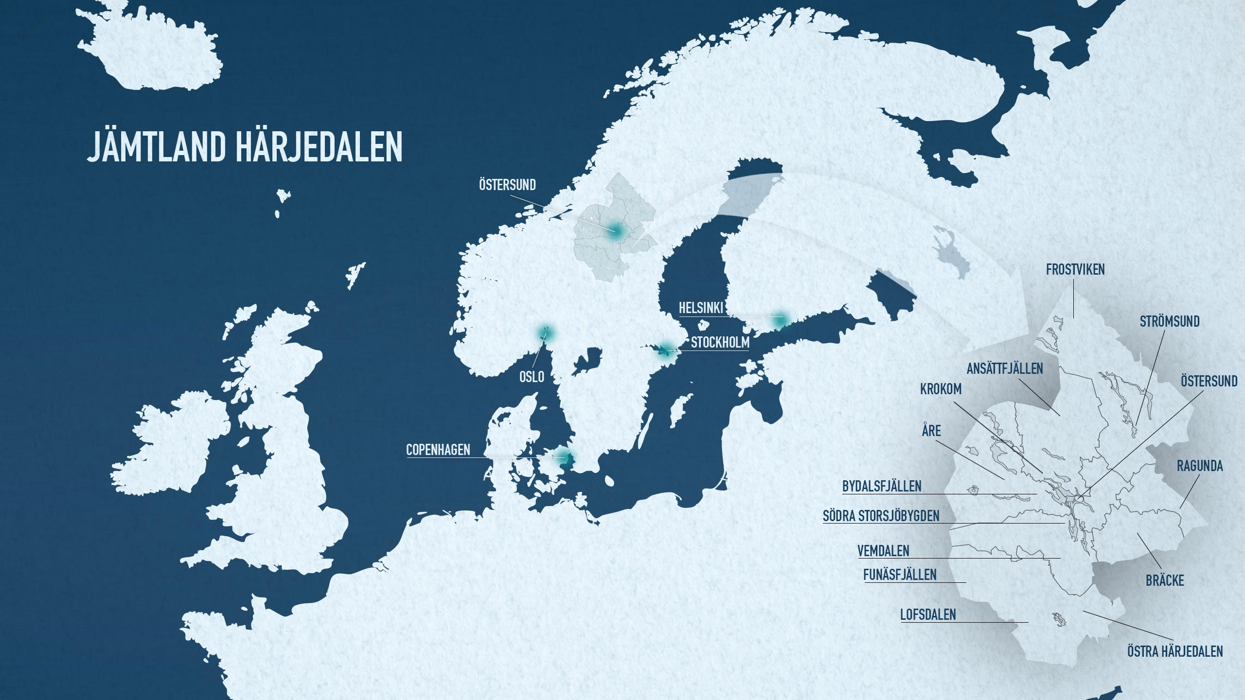 Map of the destinations in Jämtland Härjedalen and location in Europe