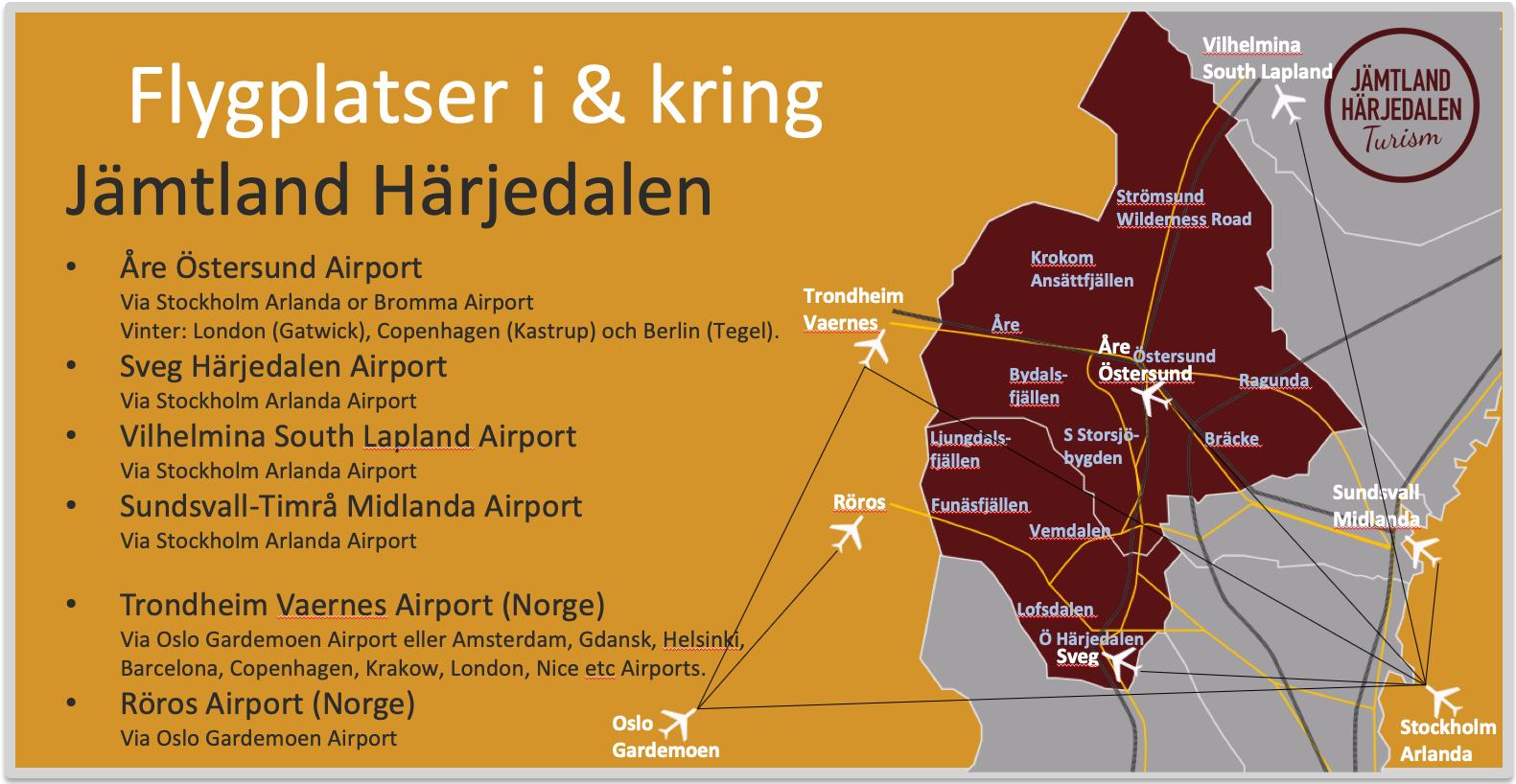 Flygplatser Jämtland Härjedalen Adventure Sweden