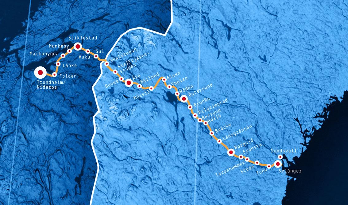 map pilgrimage st olavsleden